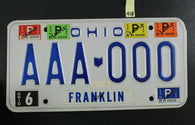 1980 FRANKLIN OHIO SAMPLE License Plate AAA-000 Stickers 1981 82 83 84 (A18