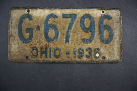 1936 Original Vintage Ohio License Plate G-6796
