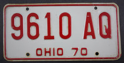 1970 Vintage Original Ohio License Plate 9610-AQ