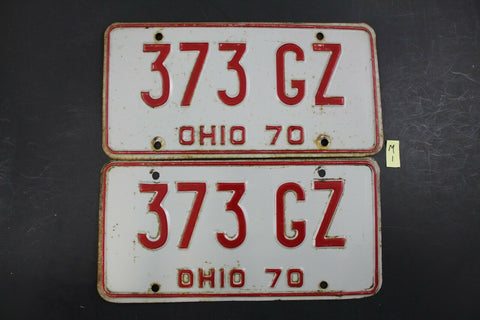 Vintage 1970 OHIO License Plate 373-GZ PAIR (M1