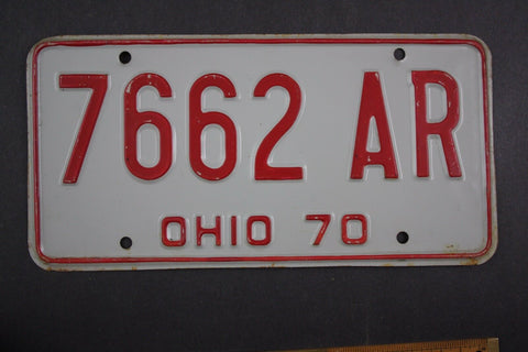 1970 Vintage Original Ohio License Plate 7662-AR