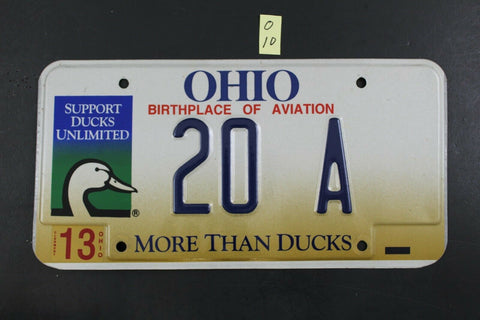 1998 OHIO License Plate 20-A Emboss Support Ducks Unlimited More Than Ducks O-10
