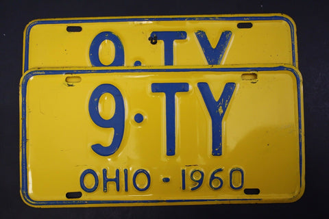 1960 Vintage Original OHIO License Plate 9-TY PAIR