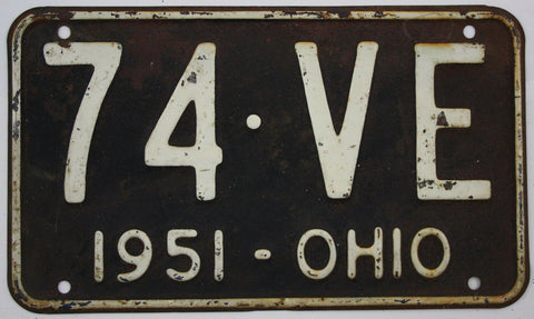 1951 Vintage Original OHIO License Plate Tag 74-VE