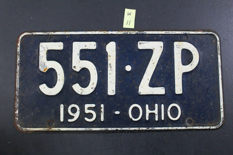 Vintage 1951 OHIO License Plate 551-ZP (W11