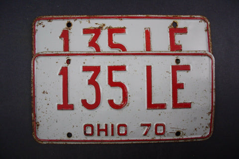 1970 Vintage Original Ohio License Plate 135-LE PAIR