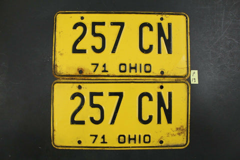 Vintage 1971 OHIO License Plate 257-CN PAIR (P-19