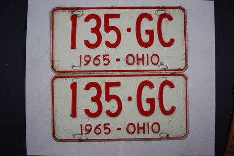 1965 Vintage Original Ohio License Plate 135-GC PAIR