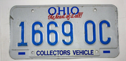 Vintage 1991 Original OHIO Collectors Vehicle License Plate 1669 0C