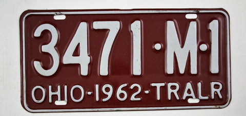 Vintage 1962 Original OHIO Trailer License Plate 3471-M-1