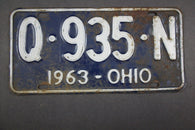 1963 Vintage Original Ohio License Plate Q-935-N