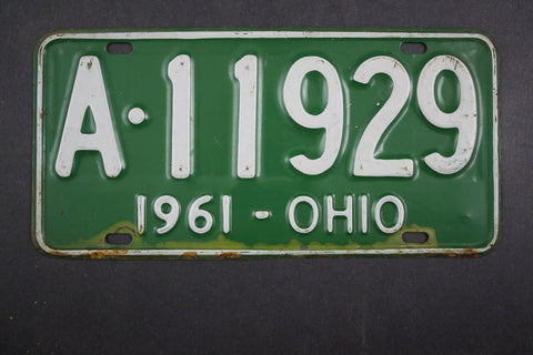 1961 Vintage Original Ohio License Plate A-11929