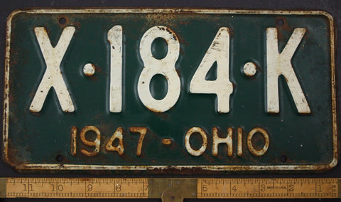 1947 Vintage Original OHIO License Plate Tag  X-184-K