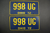 1972 Vintage Original Ohio License Plate 998-UG PAIR