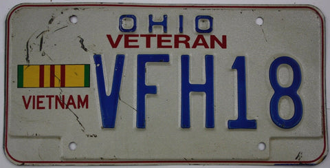 1980 Vintage Original OHIO License Plate Tag VFH18 VIETNAM VETERAN