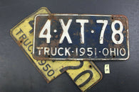 1950 AND 1951 Original Vintage Ohio License Plate TRUCK 4NZ20 4XT78 S39