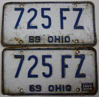 1969 Vintage Original OHIO License Plate Tag 725-FZ PAIR