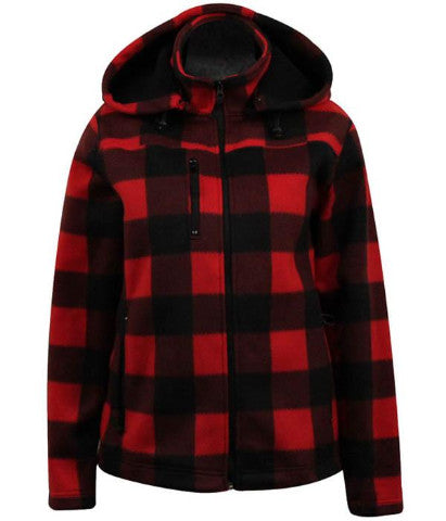 Ladies Plaid Jacket with Detachable Hood