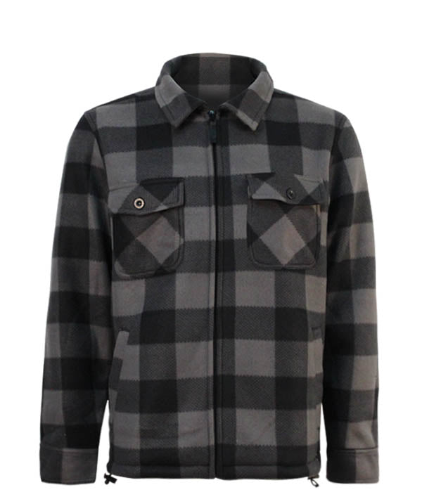 Men's Plaid Jacket With Sherpa Lining - Grey