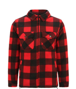 Men's Plaid Jacket With Sherpa Lining - Red