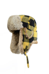 Buffalo Check Aviator with Rabbit Trim - Yellow/Natural