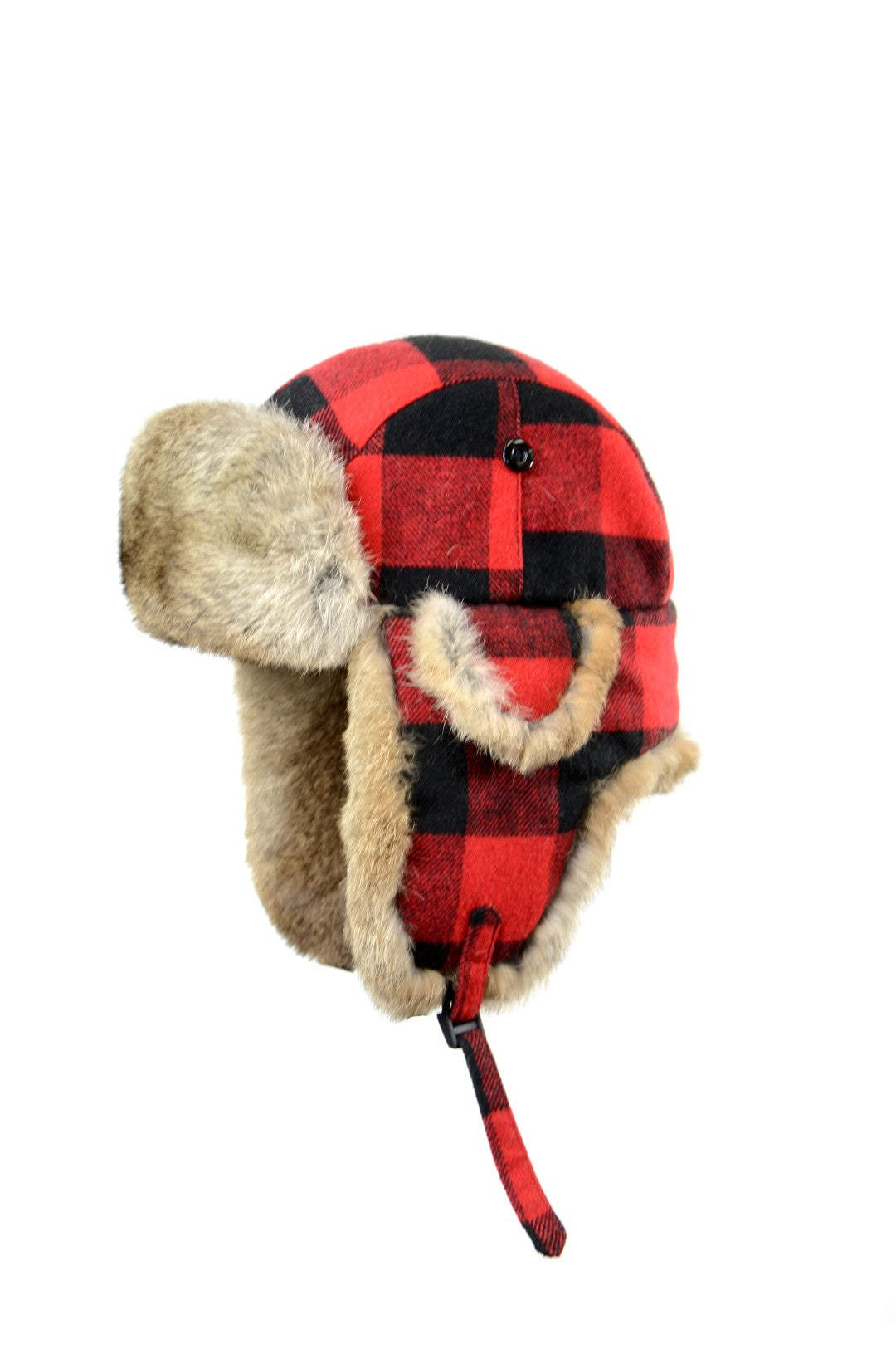 Buffalo Check Aviator with Rabbit Trim - Red/Natural