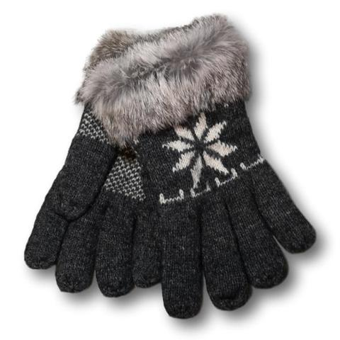 Lambswool Snowflake Gloves - Charcoal