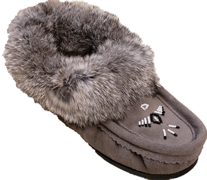 Ladies Moccasins with Crepe Sole - Grey