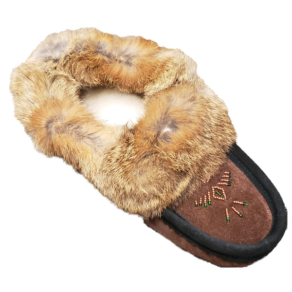 Ladies Moccasins - Brown with Black Trim