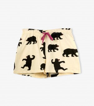 Black Bear on Natural - Women's Sleep Shorts