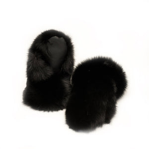 Black Fox Fur Mitts