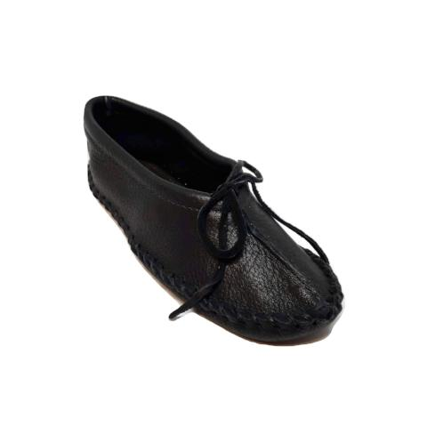 Ballet Style Deerskin Ladies Slippers - Black