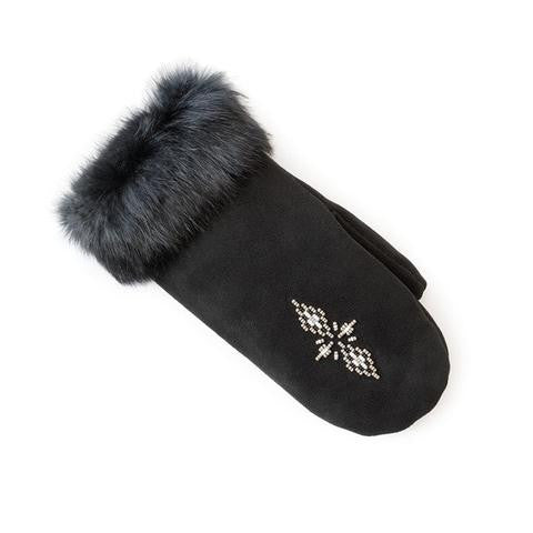 Fur Trim Mitt - Black