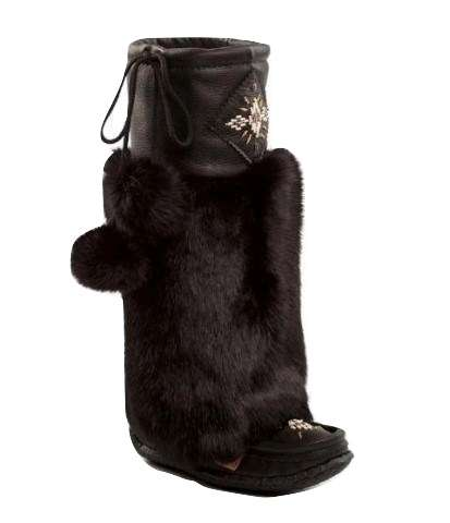 Tall Nappa Leather Mukluks - Black