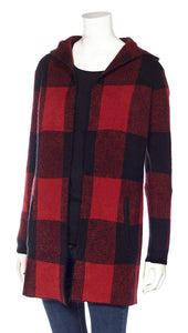 Buffalo Check Hooded Sweater Jacket with Pockets - Red