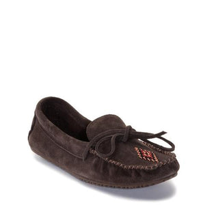 Canoe Suede Unlined Moccasin - Dark Brown