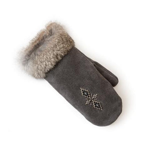 Fur Trim Mitt - Charcoal