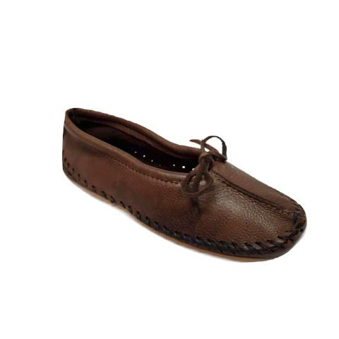 Ballet Style Deerskin Ladies Slippers - Chocolate Brown
