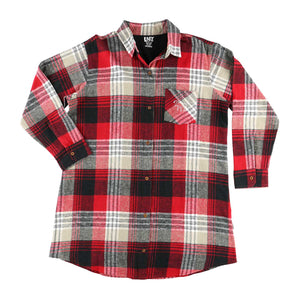 Country Plaid Flannel - Button Down Night Shirt