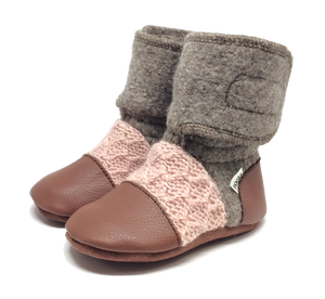 Children's Wool Booties - Desert Rose