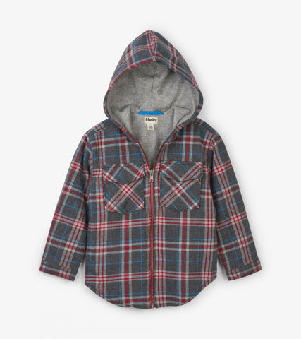 Grey Plaid Woven Full Zip Hoodie