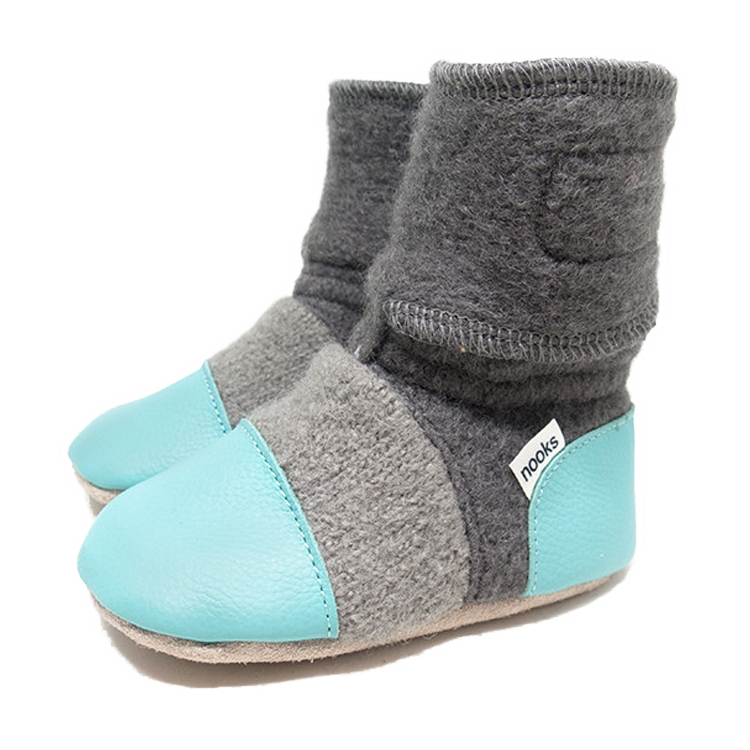 Children's Wool Booties - Lagoon