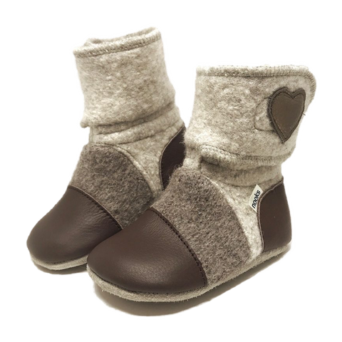 Children's Wool Booties - Latte