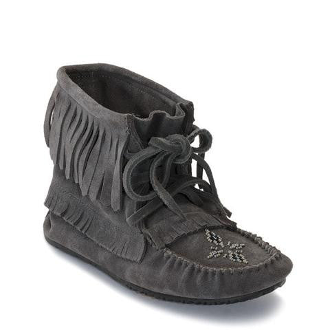 Harvester Suede Unlined Moccasin - Charcoal