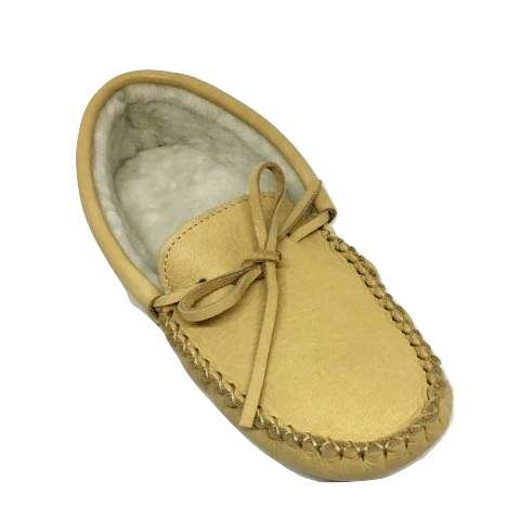 Men's Moose Hide Sheepskin Lined Slippers - Natural