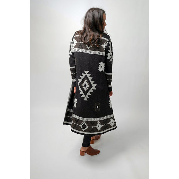 Long Jacquard Alpaca Sweater - Black