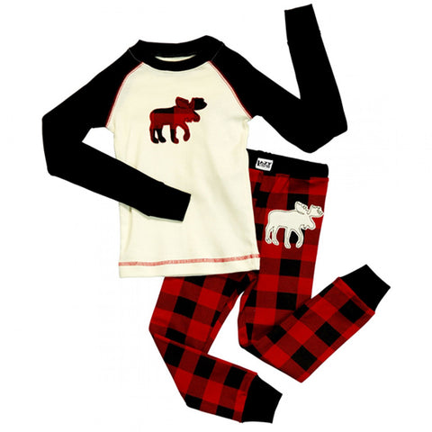 Plaid Moose - 2 Piece PJ Set
