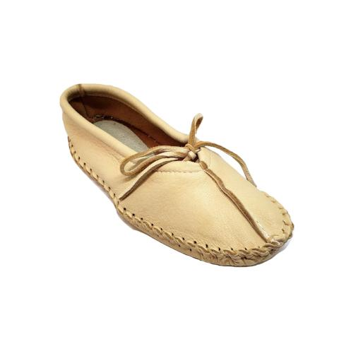 Ballet Style Deerskin Ladies Slippers - Natural
