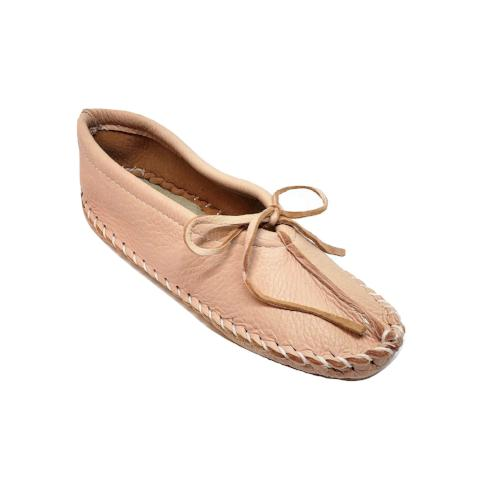 Ballet Style Deerskin Ladies Slippers - Pink