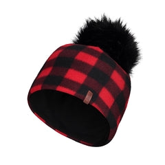 Plaid Fleece Toque with Pompom